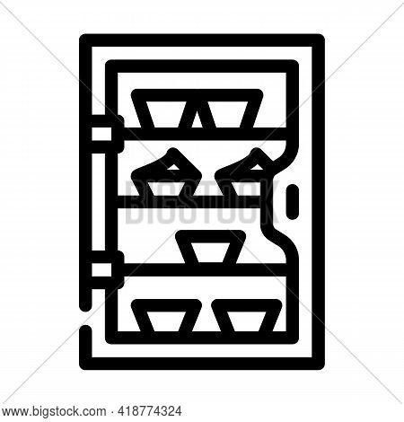 Cakes Showcase Line Icon Vector. Cakes Showcase Sign. Isolated Contour Symbol Black Illustration