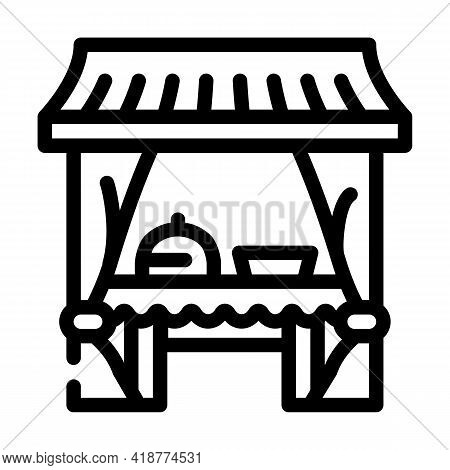 Tent Buffet Line Icon Vector. Tent Buffet Sign. Isolated Contour Symbol Black Illustration