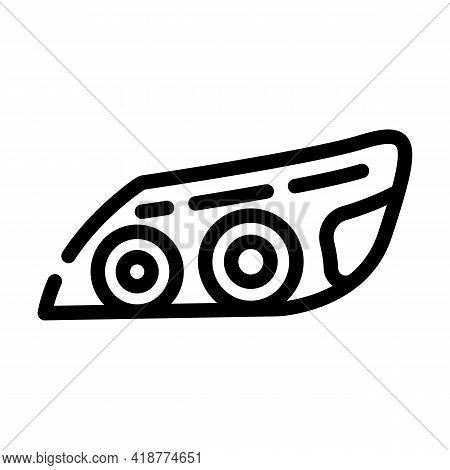 Headlight Car Line Icon Vector. Headlight Car Sign. Isolated Contour Symbol Black Illustration