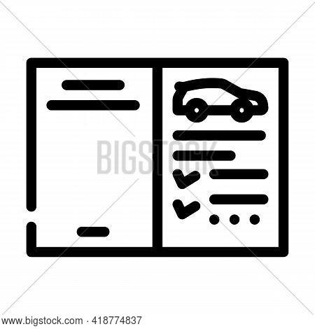 Auto Service Passport Car Line Icon Vector. Auto Service Passport Car Sign. Isolated Contour Symbol