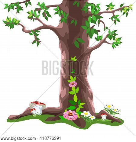 Vector Fairy Tale Big Tree In Cartoon Style Isolated On White Background. To Decorate The Fairy Fore