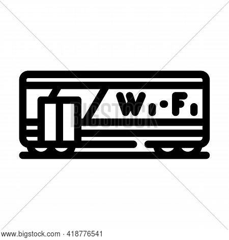 Wagon With Wifi Line Icon Vector. Wagon With Wifi Sign. Isolated Contour Symbol Black Illustration