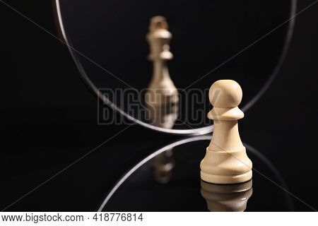 Pawn Feeling Itself Like Queen, Chess Piece In Front Of Mirror. Self-appraisal, Alter Ego, True Pers