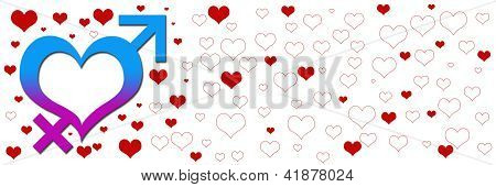 Banner Image Heart with Male Female Signs