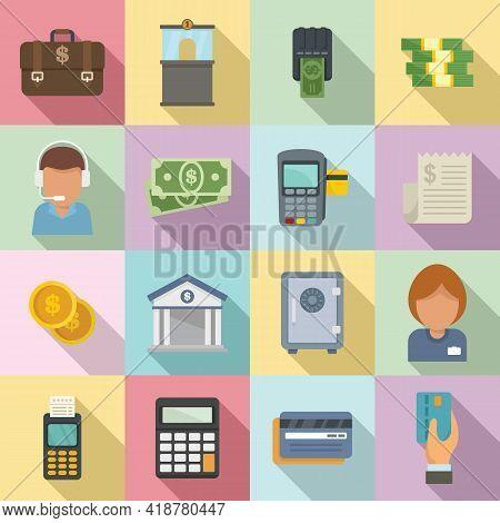 Bank Teller Icons Set. Flat Set Of Bank Teller Vector Icons For Web Design