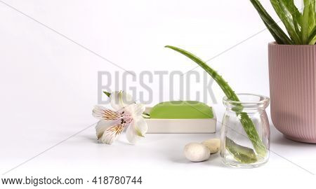 Aloe Vera Leaf, Sliced Aloe Vera Plant With Spa Background Over White
