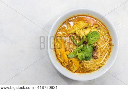 Overhead View Of Simple And Delicious Curry Mee Or Noodle, Popular Cuisine In Malaysia
