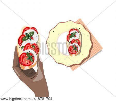 Dark Skin Hand Holding Sandwich With Mozzarella Cheese And Tomatoes. Bruschetta With Tomatoes And Mo