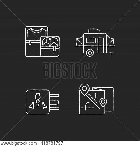 Traveler Pack Chalk White Icons Set On Black Background. Clothing Cubes. Tourist Baggage. Map For Ca