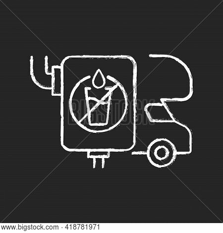 Rv Wastewater Tanks Chalk White Icon On Black Background. Freshwater Holding Container For Recreatio