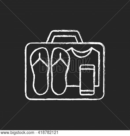 Minimalist Mindset Chalk White Icon On Black Background. Pack Clothing In Luggage. Apparel In Suitca