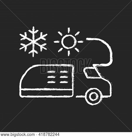 Rv Air Conditioning And Heating Chalk White Icon On Black Background. Climate Control For Trailer. V