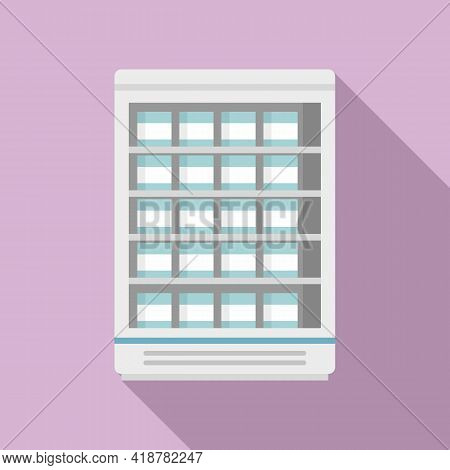 Commercial Food Fridge Icon. Flat Illustration Of Commercial Food Fridge Vector Icon For Web Design