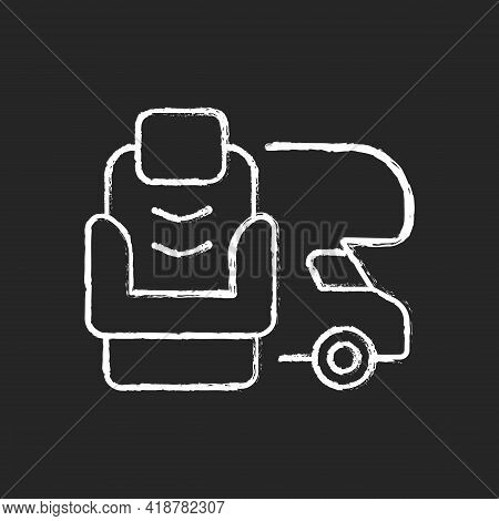 Rv Furniture Chalk White Icon On Black Background. Seating For Trailer. Chair For Van. Roadtrip Gear