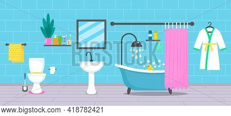 Modern Bathroom Design With Bathtub, Washbasin, Faucet, Bathrobe, Toilet And Body Accessories. Vecto