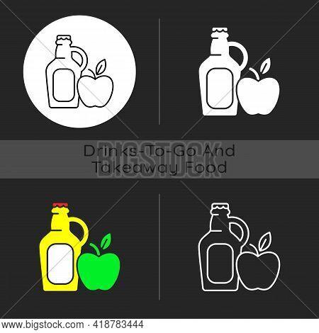 Cider To Go Dark Theme Icon. Fermented Apple Juice. Expressed Fruit Beverage. Alcoholic, Nonalcoholi