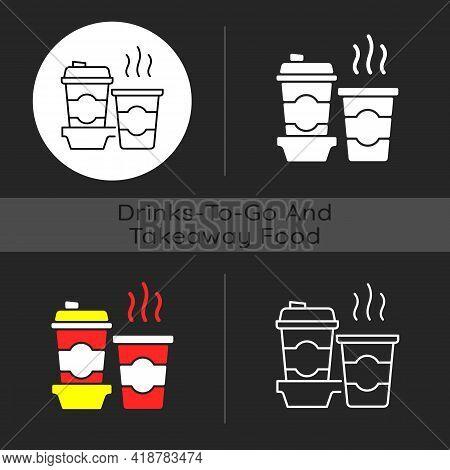 Coffee To Go Dark Theme Icon. Consuming Caffeine. Morning Beverage. Cappuccino, Americano. Freshly B