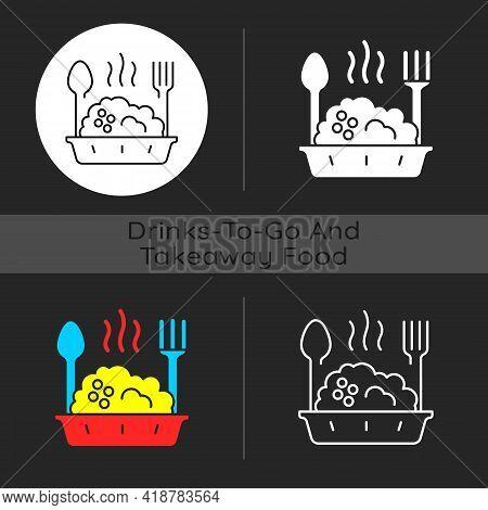 Takeaway Porridge Bowl Dark Theme Icon. Balanced, Filling Breakfast. Takeout Oat Cuisine. Protein An