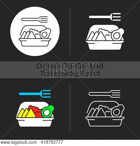 Family-style Meals Takeout Dark Theme Icon. Dinner For Parents And Kids. Family-sized Portions. Deli