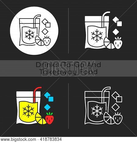 Slushy Drinks To Go Dark Theme Icon. Frozen Carbonated Beverage. Blended Drinks With Ice And Fruits.