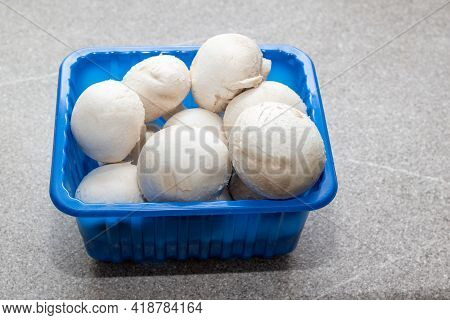 Champignon Mushrooms In A Blue Box Isolated On A Gray Kitchen Table, Close-up. Champignons White Who