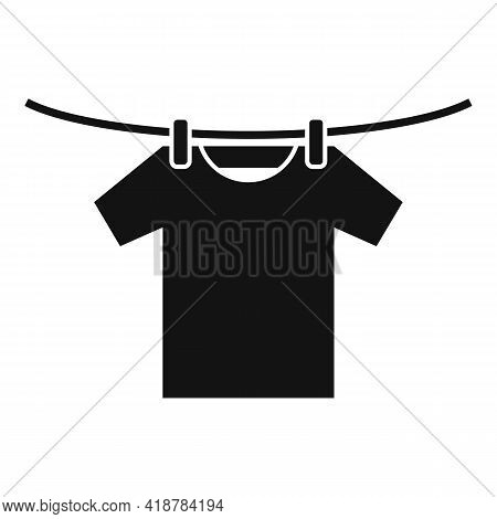 Tshirt On Dryer Wire Icon. Simple Illustration Of Tshirt On Dryer Wire Vector Icon For Web Design Is