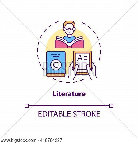 Literature Concept Icon. Copyright Object Idea Thin Line Illustration. Literary Production. Poems, B