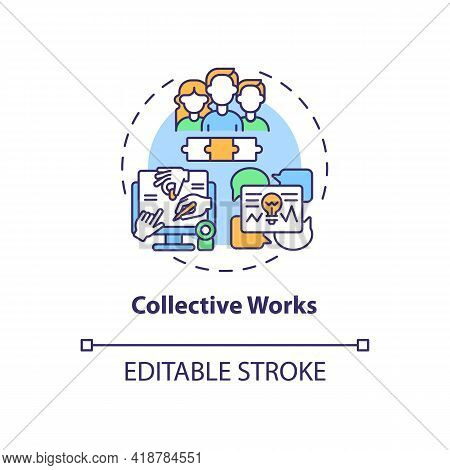 Collective Works Concept Icon. Copyright Law Idea Thin Line Illustration. Several Authors Publishing