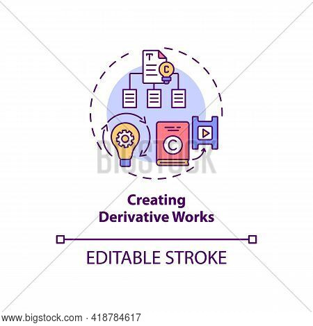 Creating Derivative Works Concept Icon. Exclusive Author Right Idea Thin Line Illustration. Works Ad