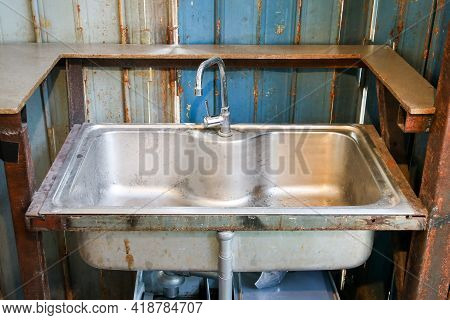 Sink And Faucet Is Dirty And Rusty