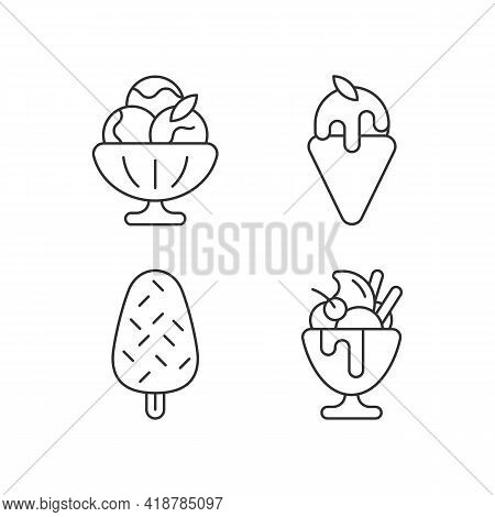 Ice Cream Varieties Linear Icons Set. Sorbet, Sherbet. Gelato. Vanilla Ice Cream With Sprinkles. Par