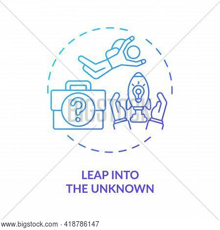 Leap Into The Unknown Concept Icon. Voluntarily Leap To New Career, Location Idea Thin Line Illustra