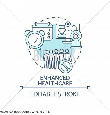 Enhanced Healthcare Turquoise Concept Icon. Online Medical Services. E Health, Telemedicine. Digital