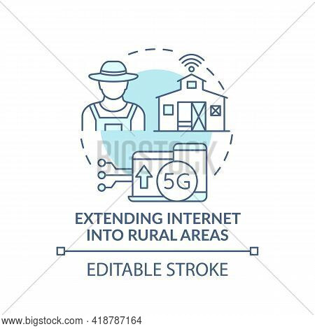 Extending Internet Into Rural Areas Turquoise Concept Icon. 5g Connection. Smart Farming. Digital In