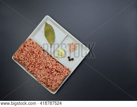 Fresh Minced Pork, Garlic, Salt And Pepper In A Square Plate On A Gray Background. Minced Meat And S