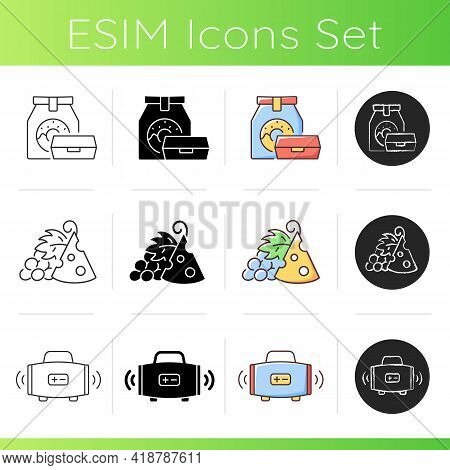 Outdoor Social Gathering Icons Set. Take Away Food. Pairing Cheese And Grapes. Wireless Loudspeaker.
