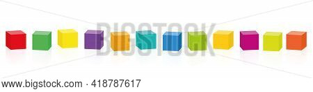 Colored Cubes. Set Of Twelve Colorful Cubes In A Row. Isolated Vector Illustration On White Backgrou