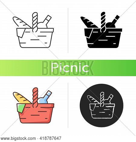 Picnic Basket Icon. Heaving Picnic Hamper. Holding Food And Tableware. Snacks Packing. Gathering Fam