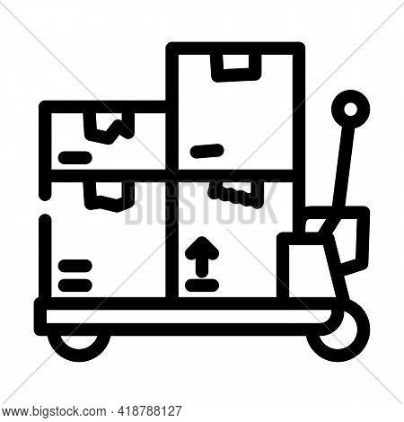 Transporter Cart Wholesale Line Icon Vector. Transporter Cart Wholesale Sign. Isolated Contour Symbo