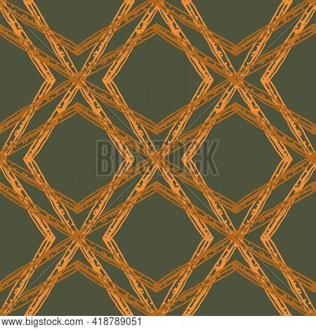Rattan Weave Style Vector Seamless Pattern Background. Interlaced Wicker Basket Effect Sage Green Oc