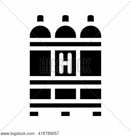 Hydrogen Biogas Glyph Icon Vector. Hydrogen Biogas Sign. Isolated Contour Symbol Black Illustration