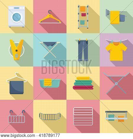 Tumble Dryer Icons Set. Flat Set Of Tumble Dryer Vector Icons For Web Design