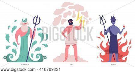 Ancient Greek Gods. Olympic Greek Main Powerful Gods, Zeus, Poseidon And Hades. Greek Ancient Mythol