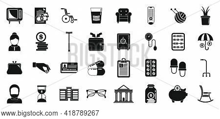Retirement Pension Icons Set. Simple Set Of Retirement Pension Vector Icons For Web Design On White