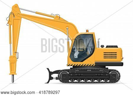 Excavator With Hydraulic Jackhammer Side View Isolated On White Background. Construction And Road Eq