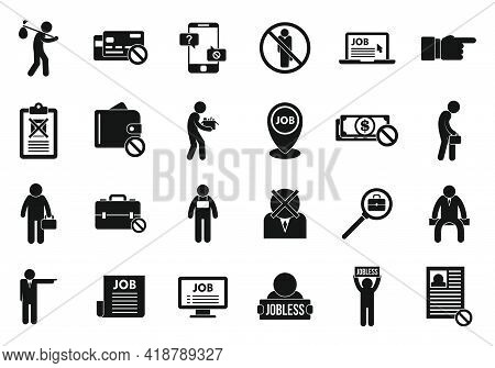 Jobless Icons Set. Simple Set Of Jobless Vector Icons For Web Design On White Background