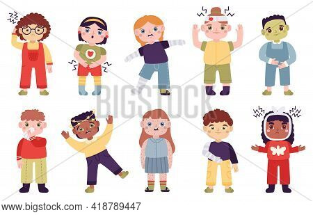 Sick Children. Little Kids With Disease Symptoms, Headache, Abdominal Pain, Runny Nose And Rashes Ve
