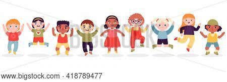 Jumping Children. Happy Jumped Kids, Joyful Laughing Jumping Little Boys And Girls Isolated Vector I