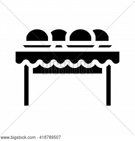 Dishes On Tables Glyph Icon Vector. Dishes On Tables Sign. Isolated Contour Symbol Black Illustratio