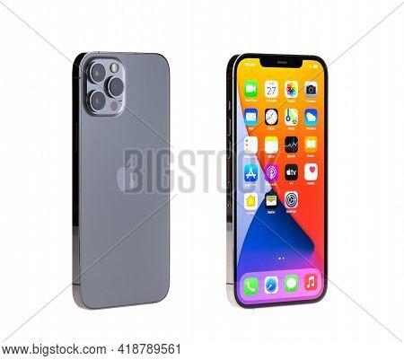 Bangkok, Thailand - Apr 27, 2021: Studio Shot Of New Apple Iphone 12 Pro Max Graphite Color, Display